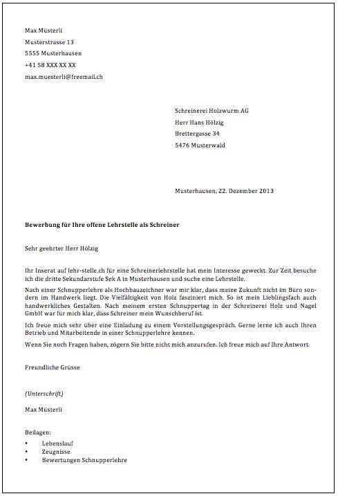 begleitschreiben - lehr-stelle.ch, Einladungen